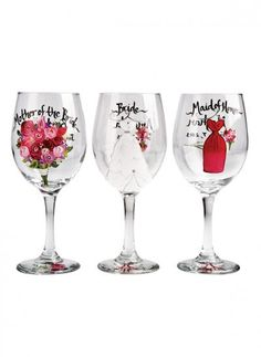 Hand-painted wine glasses for the Maid of Honor, Mother of the Bride (and even the bride herself!)