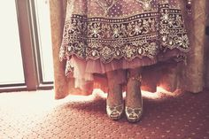 indian-wedding-bride-red-lengha-gold-heels-silver-embroidery by Fotolicious.LOVE the hem Dress Indian Style, Indian Wear, Pakistani Dresses, Indian Dresses, Indian Wedding Bride, Indian Weddings, Punjabi Wedding, Indian Bridal Fashion, Punjabi Fashion