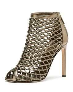Caged Metallic Crisscross Bootie, Gunmetal by Gucci at Neiman Marcus.