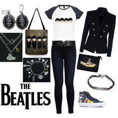 """""""The Beatles outfit"""" by pendientera on Polyvore Handmade accessories by Pendientera:  http://pendientera.com/"""