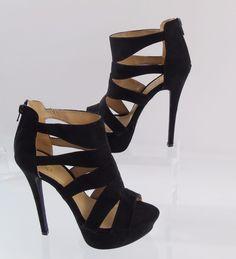 e3721a043b68 FRH Ankle Platform Heels Black Faux Suede Cutouts Back Zip Womens Shoes Sz  7.5