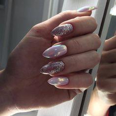 50 Stunning Designs For Almond Nails You Won't Resist Nail Idea 29 Acrylic Nail Designs, Nail Art Designs, Bridal Nail Art, Almond Nails Designs, Almond Shape Nails, Studded Nails, Oval Nails, Winter Nail Designs, Super Nails