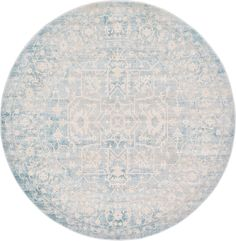 Light Blue 6' x 6' New Vintage Round Rug | Area Rugs | eSaleRugs