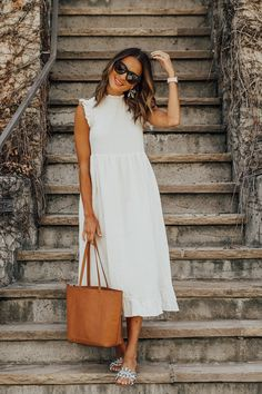 3 tips to increase productivity, Summer Outfits, lauren sims kendra scott summer. Dress Outfits, Casual Dresses, Casual Outfits, White Dress Outfit, Dress Shoes, Spring Summer Fashion, Spring Outfits, White Dress Summer, Summer Dresses