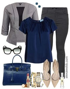 Plus Size Winter Business Casual Outfits - Plus Size Trousers, Grey Blazer, Blue Top, Leopard Heels - Plus Size Fashion for Women - Plus Size Work Wear - a Summer Work Outfits, Casual Work Outfits, Mode Outfits, Work Attire, Work Casual, Casual Tops, Fashion Outfits, Womens Fashion, Ladies Fashion