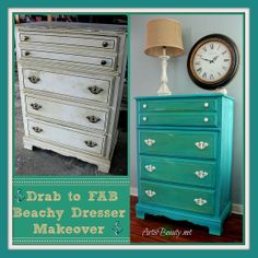 Drab to FAB Beachy Dresser Makeover - love the blue and green