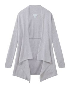 Heather Silver CASHMERE LONGLINE WATERFALL CARDIGAN - Pure Collection £229