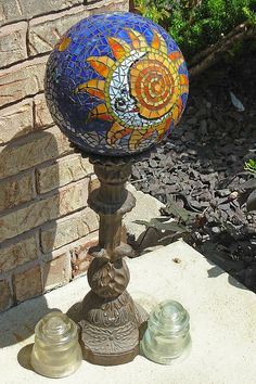 Sun/Moon Gazing Ball for the garden.  Could I do this with an old bowling ball?