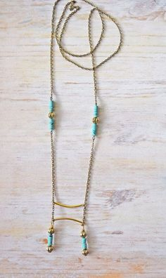 Turquoise and Brass Boho Necklace