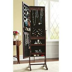 Full-length floor mirror/jewelry storage. I\'ve always wanted one of ...