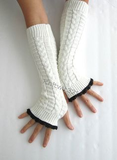 White Knit Arm Warmers Fingerless Knit Gloves Black by knitwit321