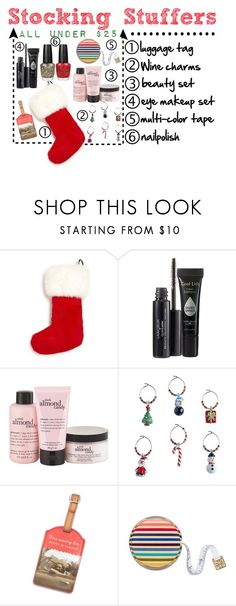 """""""Stocking Stuffers under $25"""" by victoriakfc on Polyvore featuring The Fur Salon, Laura Geller, philosophy, Chico's, Tory Burch, Christmas, holidays, under25 and stockingstuffers"""