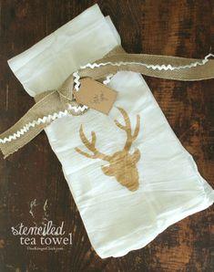 These simple stenciled DIY tea towels make a wonderful DIY Christmas gift idea!