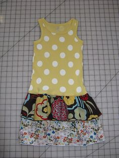 Easy dress to make with tank and two strips of fabric...