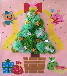 お花紙を利用して作ったクリスマスツリー 立体感があって可愛い♡ Halloween Christmas, Christmas Crafts, Christmas Decorations, Xmas, Diy And Crafts, Crafts For Kids, Paper Crafts, Class Decoration, Candle Stand