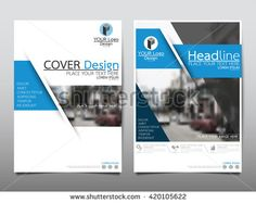 Blue fold technology annual report brochure flyer design template vector, Leaflet cover presentation abstract geometric background, layout in A4 size