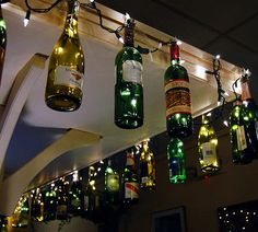 DIY Outdoor Christmas Lighting Ideas - Wine Bottles - Click Pic for 21 DIY Christmas Ornaments