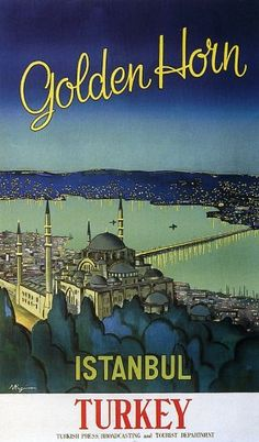 "Golden Horn Istanbul Turkey North Africa Arab Arabic Travel Tourism 9"" X 16"" Image Size Vintage Poster Reproduction"