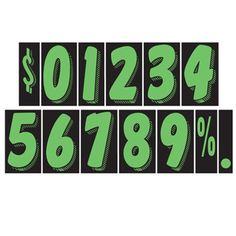 "CAR DEALER Window Number Stickers 7.5"" Vinyl 48 Dozen Windshield Black Green #CarLotPromotions"