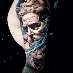 Zeus - Schwarz & Grau Realismus Arm Tattoo Das s - Zeus Tattoo, Poseidon Tattoo, Backpiece Tattoo, Hanya Tattoo, Yakuza Tattoo, Tattoo Arm, Arm Tattoos, Tattoo Skin, Body Art Tattoos