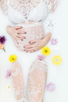 SBurritt Photography Canada Milk bath maternity session fresh flowers baby girl pink  Leah Maria Dress