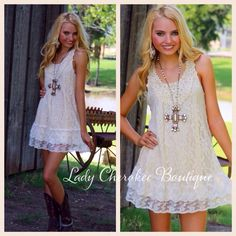 """https://instagram.com/ladycherokeeboutique Southern Grace ANTIQUE WHITE WITH LACE AND CROCHET DETAIL DRESS ✨Chandler is wearing a Small✨ Price: $43.00, Free Shipping Qty: 2-Small, 2-Medium, 2-Large  Please comment """"Sold"""", State, Size, and quantity needed, as well as your email to purchase. Also, you must let us know what state you live in, before we can invoice you! Please note : Invoices are cancelled after 24 hours!!"""