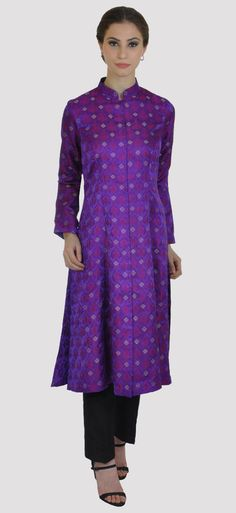 Purple Handwoven Resham And Zari Pure Brocade Silk Jacket