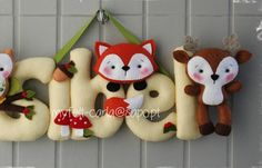 Woodland Animals Felt Name Banner Baby's Room by feltcutemobile