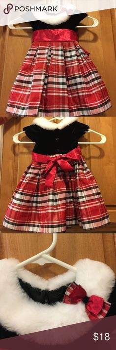 Sz. 18 mos. Christmas Dress w/ Fur Collar The picture says it all!!! Gorgeous Christmas/holiday dress for your sweet princess! My daughter wore it with black Uggs and a bow and stole the night. Stain free and hand washed. Worn once! Jona Michelle Dresses Formal