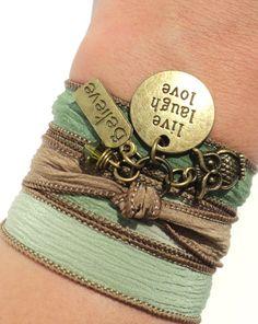 Yoga Silk Wrap Bracelet Live Laugh Love by BohemianEarthDesigns, $27.95