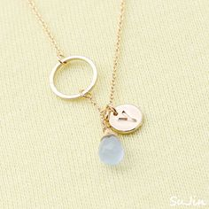 Round Link Connector withRound Personalized Initial  Pendants with Icy Blue Teardrop Bead , Necklace