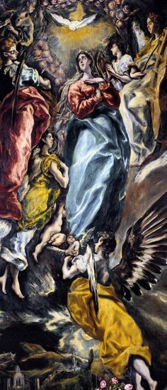 ''El Greco; Asunción de la Virgen''. The overscale folds of El Greco's draperies suggest the use of a lay figure. The effect is to create a sense of unreality - like a mad dream where nothing is as it should be.