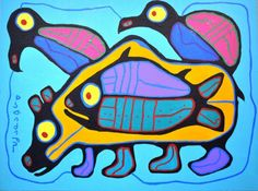"- ""Untitled"", © 1995 Norval Morrisseau ""The Ojibways have great respect for the Bear. According to their legends, in. Native American Artists, Canadian Artists, Claudia Tremblay, Kunst Der Aborigines, Native Canadian, Woodland Art, Haida Art, Aboriginal Artists, Les Religions"