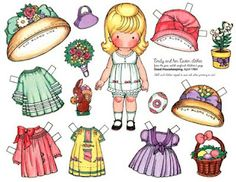 Joan Walsh Anglund paper doll with an Easter hat, basket and lily