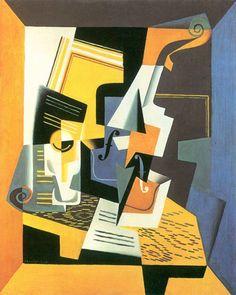 Violin and Glass by Juan Gris. Order from DEKORAMI as a poster, canvas print, mural. Zamów jako obraz na płótnie, plakat lub fototapetę na DEKORAMI.pl.