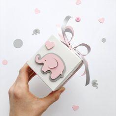 Rosa gris elefante Favor cajas elefante niña bebé ducha regalo