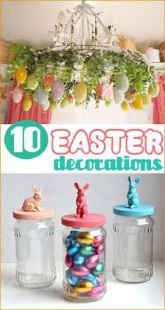 10 Easter Decorations. Darling home decor in honor of Easter. Celebrate Easter in style with these sweet home decorations.