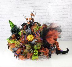 Witch Centerpiece, Witch Wreath, Halloween Centerpiece, Witch leg Centerpiece, Witch Table Decor by Splendid Homecrafts on Etsy