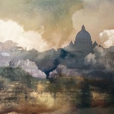 ARTFINDER: Vatican in Heaven (Summer in Italy) by Boris Novák - This painting is based on watercolor and color pencil sketches later digitized and multilayered with a photography in a particular digital collage, an authen...