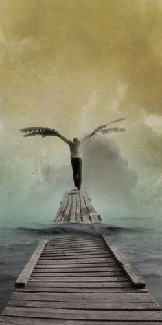 On est tous un peu Icare... / Flying man. / Surreal art. / Art surréaliste.