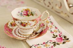 Beautiful tea cup with a lovely print of flowers.