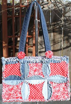 PURSE PATTERN Denim Circle Rag BAG made with by APassionateQuilter