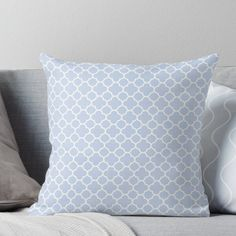 Pale Blue And White Quatrefoil Pattern Throw Pillow by TigerLynx