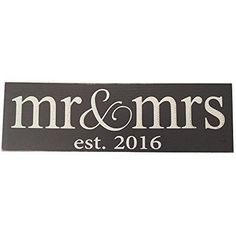 Mr & Mrs Est. 2016 Wood Sign (Various colors, styles and sizes)