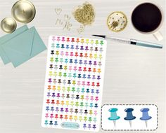 Pinning so I don't forget!! Remember to go back and check out Crafted By Corley on Etsy. Thumbtack Stickers - Thumb Tack Stickers Icon Stickers Erin Condren Life Planner Stickers Push Pin Stickers Pushpin Stickers by CraftedByCorley