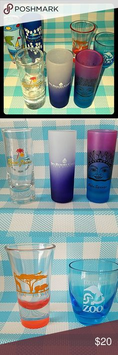 Lucky 7 Double Shot Glass Set NWOT 6 are from CA; Redondo beach,  Sea World, San Diego,  Palm Springs  & LA Zoo. and 1 from Laughlin,  Nevada; River Palms. I  used to collect shot glasses on vacation.  Now I am  finding new homes for things I don't use. Other