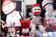 Unbelievably cute Sock Monkey Party by Bethany Chase! How adorable it this? Sweet candy and even sweeter decor! I love this theme!