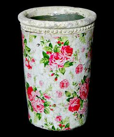 Take a look at this Pink & Green Floral Planter by Galt International on #zulily today!