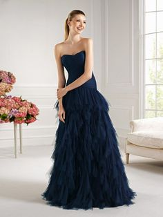 Modest Shallow Sweetheart Neckline Puffy Floor Length Dark Navy Tulle Prom Dresses With Ruffles at buytopdress.com#DesignerDress #CheapDress #CocktailDress #Fashion #PromDress #BatMitzvahDresses #EveningDresses #MarineBallDresses #MaxiDresses