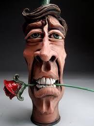Romantic Face JUG Raku Folk ART Pottery by Grafton